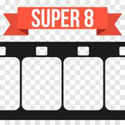 Vector Super 8 Film Strip Illustration on transparent - stock illustration
