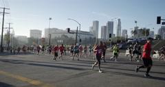 LA Marathon Wide DTLA BG Stock Footage