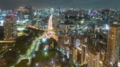 4K Timelapse of Aerial view of traffic on beautiful road in Tokyo, Japan - stock footage