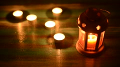 Lantern with burning candle Stock Footage