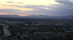 View above the San Fernando Valley at dusk - stock footage