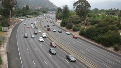 Stop and go Los Angeles freeway traffic Stock Footage