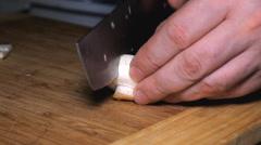 Knife Cut Mushrooms Stock Footage