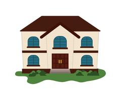 Family House. Home icon with door and windows, isolated graphic Stock Illustration