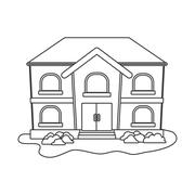 Family House. Home icon with door and windows, isolated graphic - stock illustration
