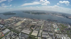 Harbor With Industrial Zone Stock Footage