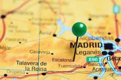 Escalona pinned on a map of Spain Stock Photos