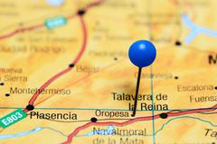 Oropesa pinned on a map of Spain - stock photo