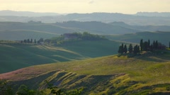 Summer Landscape, Green Hills Of Tuscany, Italy, Time-Lapse. Stock Footage
