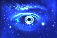 Man Eye and cosmic space with stars. abstract color background,  contact Stock Illustration