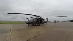 Blackhawk helicopter on the ramp Stock Footage