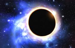 Black hole in the middle with twirling draining shape, blue tone color - stock illustration