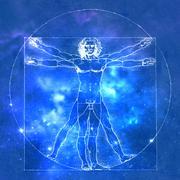 Leonardo Da Vinci Vetruvian Man, human anatomy. Cosmic blue background Stock Illustration
