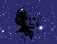 Illustration of  portrait  Albert Einstein.  on cosmic galaxy background Stock Illustration