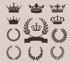 Crown and wreaths icons. Vector illustration - stock illustration
