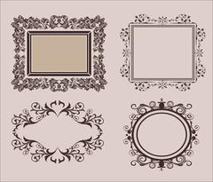 Wicker lines and old decor elements in vector. Vintage borders  frame in set - stock illustration