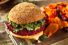 Healthy Baked Red Vegan Beet Burger - stock photo