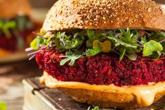 Healthy Baked Red Vegan Beet Burger Stock Photos