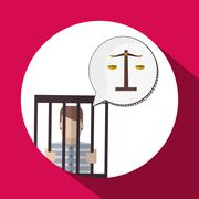 Law design. Justice icon. Flat illustration, vector graphic - stock illustration