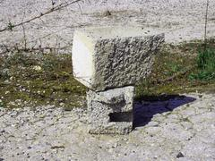cinder block building material, the remains useful - stock photo