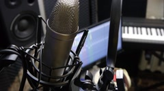 Microphone in recording Studio Stock Footage