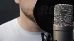 Recording Studio. Recording vocals on Studio microphone Stock Footage