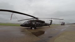 Blackhawk helicopter  tied down Stock Footage