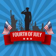 Fourth of July. Independence day background with usa flag Stock Illustration
