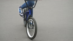Cyclist in Running Shoes on the Bike Stock Footage
