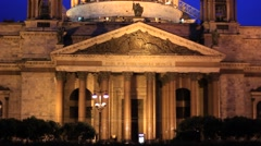 Saint Isaac's Cathedral in Saint Petersburg at night Stock Footage