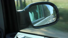 Rearview Side Car Mirror While Driving Stock Footage