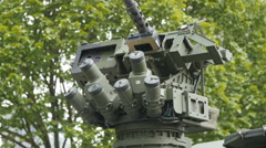 Close up view of the turret, armaments and gun - stock footage