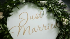 The inscription just married on the license plate - stock footage