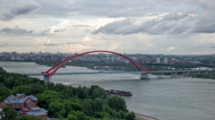 Cable-stayed bridge Bugrinsky over river Ob in Novosibirsk, Russia. Time Lapse - stock footage