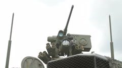Close up view of the turret, armaments and gun Stock Footage