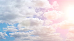 Pan shot of blue sky with clouds and bright sun. Panoramic shot of summer sky Stock Footage