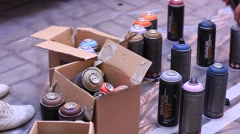Aerosol spray paint cans Stock Footage