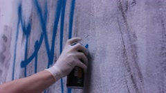 artist painting graffiti inscription - stock footage