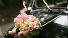 White retro car for just married Stock Footage