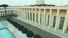 Neoclassical and rationalist style built during fascism. Eur, Aerial drone N. Stock Footage