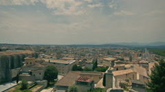 Boulevard on the fortress wall. Girona View from the top Stock Footage