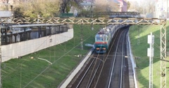 Fast train passing on railway station Stock Footage