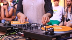 Dj Playing Dance Music On Mixer Turntable Stock Footage