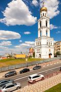 View on belltower of Iversky monastery in Samara in summer day - stock photo