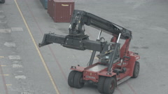 Forklift Handling In Logistic Zone - stock footage