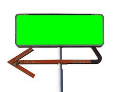 Vintage Arrow Sign Isolated with Chroma Green Insert Stock Photos