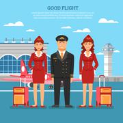 Airport Employees Poster - stock illustration