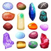 Crystal Stone Rocks Icons Set Stock Illustration
