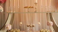 Video wedding decor sweets on the table - stock footage