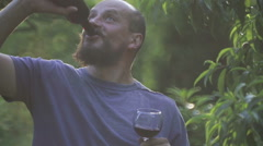 Portrait of a bearded man with a glass of red wine. Stock Footage